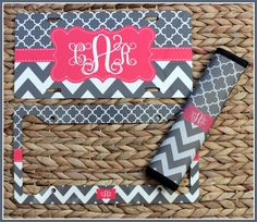 License Plate & License Plate Frame + Seat Belt Cover Car Accessories Monogrammed Gifts Custom Monogram Personalized Cute Car Accessories by ChicMonogram on Etsy https://www.etsy.com/listing/243253924/license-plate-license-plate-frame-seat