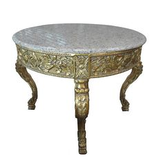 GILT MARBLE TOP FOYER/CENTER TABLE,43'' X 36''H. #Unbranded #Mediterranean