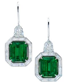 Emerald and baguette diamond drop earrings, set in platinum by Martin Katz.