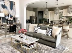 Stairs In Living Room, Living Room Sofa Design, Chic Living Room, Home Living Room, Living Room Furniture, Living Room Designs, Living Room Decor, Gray Couch Living Room, Dining Room