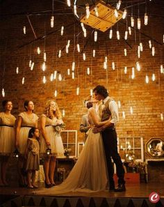 Hanging lights over the ceremony.