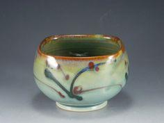 Eric Darrow  |  Celadon-glazed, squared bowl with slip decoration.