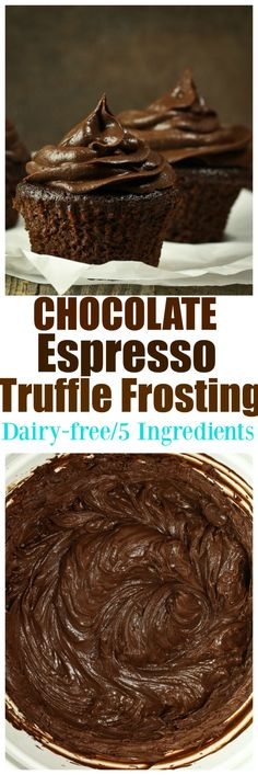 Vegan Chocolate Espresso Truffle Frosting. JUST 5 ingredients is all you need for this amazing rich chocolate espresso truffle frosting for all your cupcakes, cakes, brownies, donuts or cookie NEEDS! Dairy-free and no added oil!