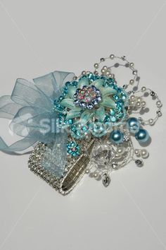 blue+corsage | Icy Blue Winter Inspired Crystal Brooch Wedding Wrist Corsage