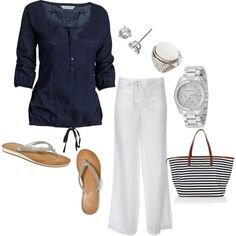 A fashion look from January 2012 featuring embroidered blouse, white linen pants and rhinestone flip flops. Browse and shop related looks. Linen Pants Outfit, Summer Outfits, Cute Outfits, Fashion Outfits, Womens Fashion, Spring Summer Fashion, Passion For Fashion, Jeans, What To Wear