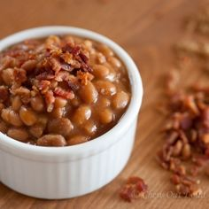 Brown Sugar Baked Beans with Bacon. Perfect side dish for your next BBQ or cookout. Popular and super easy.