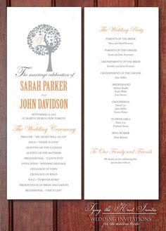 Wording options Printable Wedding Program DIY  Beautiful by Tyingtheknotinvites, $50.00