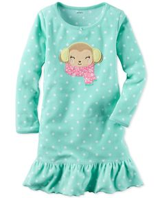 Carter's Smiling Monkey Dot-Print Sleep Shirt, Little Girls (2-6X) & Big Girls (7-16)