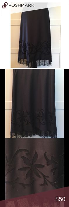 "LOFT Navy Blue Embroidered Scroll Lace Lined Skirt NWT LOFT Navy Blue wool blend lined embroidered lace skirt will bring style and class to any outfit!  *Waist 30"" *Length 25"" to lace, 28"" to bottom of lace *fully lined *54% wool/48% polyester *Bundle Discounts * No Trades * Smoke free LOFT Skirts Midi"