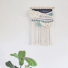 """f i b r e a r t on Instagram: """"[ C O A S T A L Vibes ] A new wall hanging that will be featured in our summer range release. In this piece we have used both macrame and weaving techniques to create this textured bespoke piece of art. Hope you love it!! #blue #macrame #weaveweird #wovenart"""""""