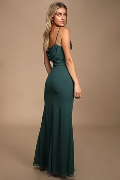 All eyes will be on you in the Lulus Captivated Emerald Green Cowl Neck Maxi Dress! Sleeveless maxi dress with cowl neckline and figure-skimming mermaid hem. Best Maxi Dresses, Backless Maxi Dresses, Cute Dresses, Formal Dresses, Long Dresses, Women's Dresses, Girls Dresses, Dresses Online, Wedding Dresses