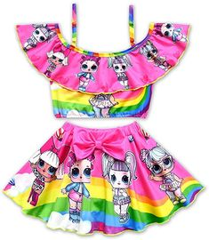 Rohero Toddler Baby Girls Swimsuits Two Piece Doll Print Ruffle Swimwear Bathing Suit for Doll Surprised Beach Tankinis Beach Wear Dresses, Dress Beach, Baby Girls, Unicorn Fashion, Baby Girl Swimsuit, Kids Outfits, Cute Outfits, Doll Dress Patterns, Children Costumes