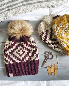 Aspen Beanie pattern by Made by Marlee Stricken , Crochet Beanie, Knit Or Crochet, Crochet Crafts, Yarn Crafts, Knitted Hats, Crotchet, Fair Isle Knitting, Loom Knitting, Knitting Patterns