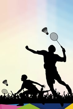 Badminton recruit new posters background material Badminton Smash, Badminton Tournament, Badminton Logo, Badminton Sport, Silhouette Sport, Badminton Pictures, Sports Day Poster, Wallpaper Backgrounds, Colorful Backgrounds