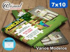 Convite Minecraft 7x10cm