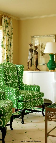 As we near the end of this St. Patrick's day, a look back at my favorite green living room chairs that were featured in Traditional Home several years back. In my new home renovation, they are still gorgeous and green but are now in my Master Bedroom. Living Room Green, Green Rooms, Living Room Chairs, Best Paint Colors, Green Home Decor, Living Spaces, Living Rooms, Family Room, Sweet Home
