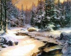 Thomas Kinkade painting of frozen river in forest