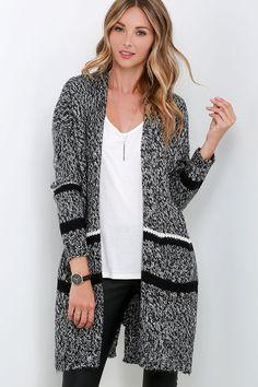 Black and Ivory Cardigan Sweater