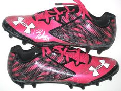 ac0da59b2 Tommy Bohanon New York Jets Game Worn   Signed Pink   Black Breast Cancer  Awareness Under Armour Cleats - Worn Vs New England Patriots