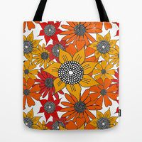 Tote Bag featuring Doodle Flowers One by Robin Gayl