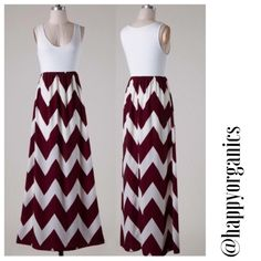 Jersey Chevron Maxi Dress New!! Burgundy and White chevron dress. Has a sleeveless  jersey top and a high waist chevron printed woven bottom Maxi style dress with semi lining.  100% Polyester Made in USA Naturally Spiritual Boutique Dresses Maxi