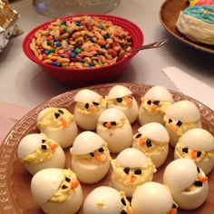 Easter deviled eggs that look like baby chicks (no recipe but I think they used black olives and carrot). So much cuter than paprika sprinkled on top!