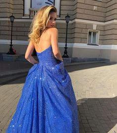 Bling A Line Sweetheart Royal Blue Long Prom Party Dress cg20924 – classygown