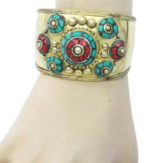 Gold Tone Green Red Mosaic Tiles Adjustable Cuff Bracelet Fashion Indian Jewelry | eBay