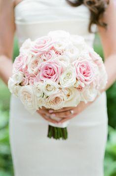 White Rose Bouquet, Bridal Bouquet Pink, Bridal Flowers, Flower Bouquet Wedding, Floral Bouquets, Pink Flowers, White Bridal, Bridal Shower Decorations, Summer Wedding