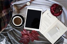 #iPad with coffee and a book  This is a high resolution photo (5616 x 3744 px) ideal for your blog iPad mockup website or to showcase your website template wordpress theme or a typography on the screen.