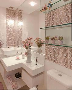 Glass bathroom - 40 The Best Bathroom Glass Shelves Design Ideas Bathroom Design Small, Bathroom Interior Design, Interior Design Living Room, Interior Decorating, Kitchen Interior, Pink Home Decor, Glass Bathroom, White Bathroom, Pink Bathrooms