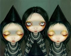 "Our ""sale print of the week"" is my beloved ""Three Witchy Sisters!"" Only $9.99 worldwide here: http://www.strangeling.com/shop/fine-art-prints/three-witchy-sisters/ #jasminebecketgriffith #strangeling #fantasyart #art #painting #bigeyes #bigeyeart #newcontemporary #witch #halloween #stripey #stripes #witchhat #pointyhat #halloweenart #witchy #gothling #goth#fairy #fairyart #popsurrealism #lowbrowart #newcontemporaryart #bigeyedart #painting #acrylic #acrylics #gothicart"
