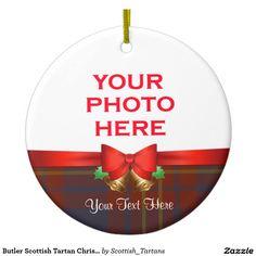 Butler Scottish Tartan Christmas Photo Double-Sided Ceramic Round Christmas Ornament
