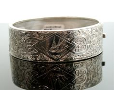Antique Mid-Victorian Sterling Silver Engraved Bangle Bracelet