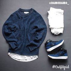Today's top #outfitgrid is by @damodamo_.  ▫️#HM #Sweater & #Tee  ▫️#Uniqlo #Denim  ▫️#Nike #AF1 #Flyknit  #flatlay #flatlays #flatlayapp www.flat-lay.com