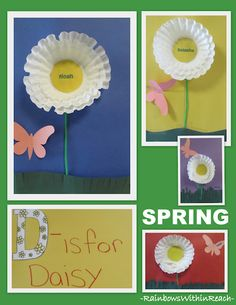 D is for Daisy: coffee filter flower project for Preschool, blog post has lots of flower projects w various media