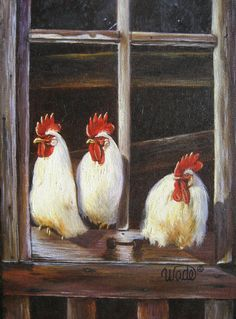 Chicken Print, roosters art, paintings, white chickens, country chickens, kitchen art.