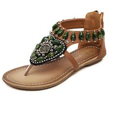 Inkach® Women Fashion Sandals Casual Shoes Bohemian Ethnic Style Beaded Thong In Rome With Beach Sandals >>> Discover this special outdoor gear, click the image : Outdoor sandals