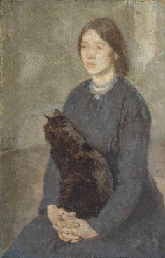 Gwen John, Young Woman Holding a Black Cat