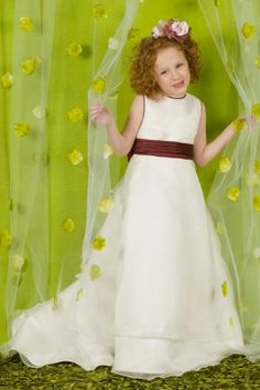 Jewel Sashes A-line Organza Satin Flower Girl Dress