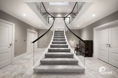 Chelwood Gate - A - Staircases of Distinction Luxury Staircase, House Staircase, Staircases, Staircase Glass, Home Stairs Design, Dream Home Design, Modern House Design, Casa Magna, Hallway Designs