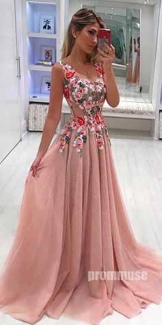 A Line Broad Straps Floral Appliqued Prom Dress, Cheap Long Tulle Evening Dresse. - A Line Broad Straps Floral Appliqued Prom Dress, Cheap Long Tulle Evening Dresses – Okdresses Source by mosafer -