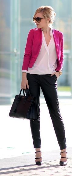 #spring #business #outfitideas |  Magenta Blazer + Black and White