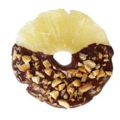 Chocolate-Dipped Pineapple Rings Recipe (or substitute coconut for the nuts)