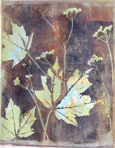 """Monotype print by April Jordan.  """"Fallen Leaves"""""""