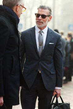 Sartorially Inclined: Anatomy Of A Badass: Nick Wooster. Sharp Dressed Man, Well Dressed Men, Looks Cool, Men Looks, Nick Wooster, Charcoal Suit, Interview Attire, Pantalon Costume, Black Leather Tote Bag