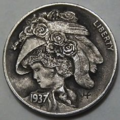 John Hughey - Vintage Hat Hobo Nickel, Buffalo, Cactus, Mad, Coins, Carving, Vintage, Note Cards, Hat