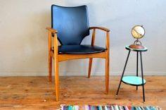 Fauteuil de bureau scandinave piétement fuseau teck années 60 design vintage rétro