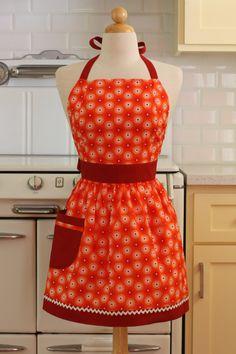 Apron Retro Style Flowers on Orange CHLOE Full Apron by Boojiboo, $28.75