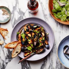 Beer-Steamed Mussels with Chorizo--try Mexican XX beer.
